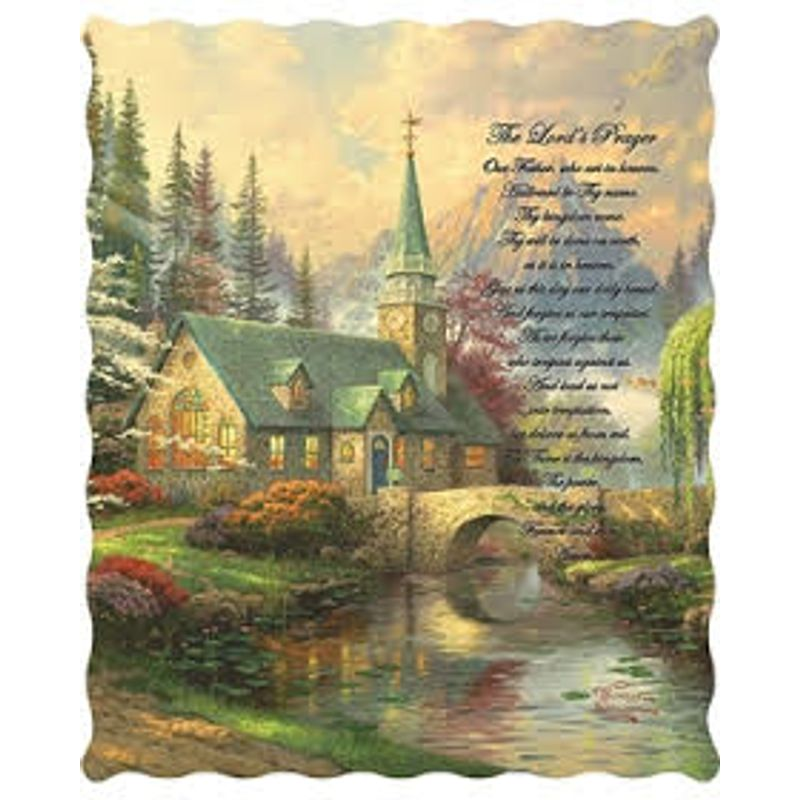 Thomas Kinkade Lords Prayer Quilted Throw Abloom Flowers Gifts