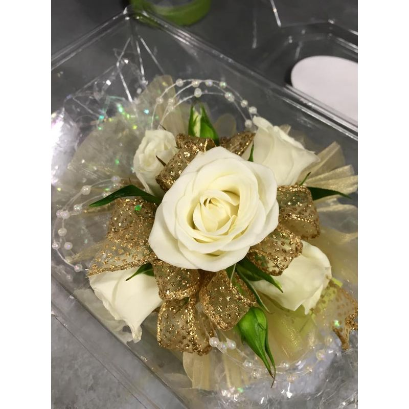 White and gold wrist corsage a floral affair local florist more views mightylinksfo