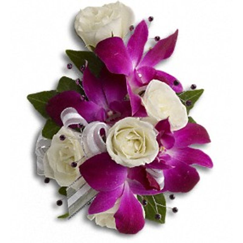 Purple Orchid And White Roses Corsage