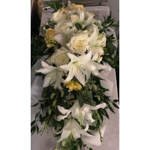 Princess White Lilly And Rose Cascading Bridal Bouquet Albiesfloral