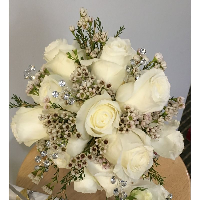 Rose and Wax Flower Bouquet Albiesfloral - Niles, OH Florist | Best ...