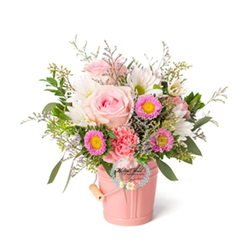Sweet Baby Pail Pink Spring Florist Free Delivery Flowers In Spring Tx Always Floral The Woodlands Tx Funeral Home Flowers Funeral Flowers Klein Funeral Home Florist In Spring Tx