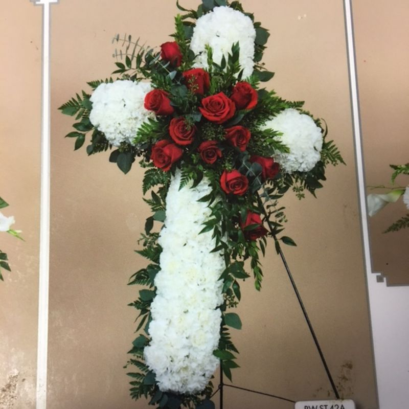 Cross Wreath on A Stand American Floral - Flowers in Irmo