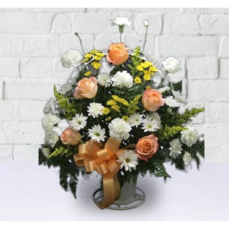 The Traditional Funeral Basket Angelic Flowers Winter Haven Florist