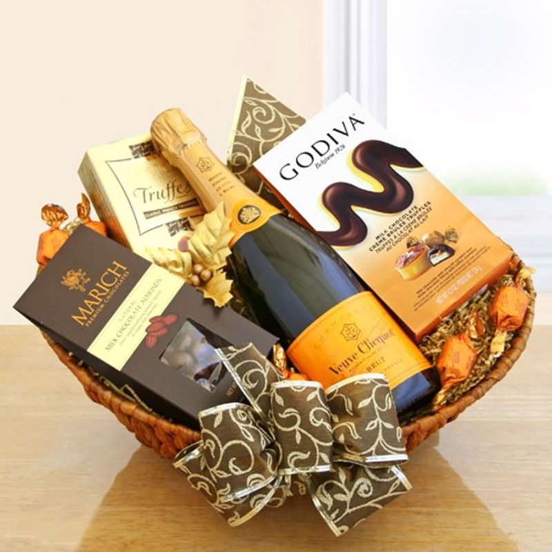 4dc5f9f7645 Champagne   Chocolate Gourmet Gift Basket ART among the FLOWERS ...