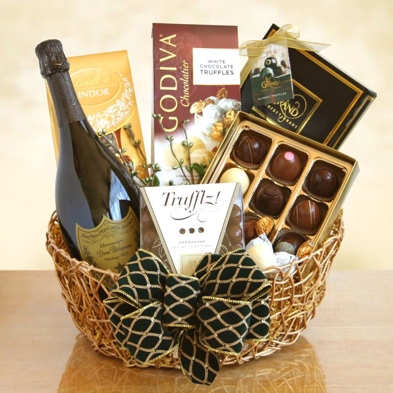 Dom Perignon Chocolates Gift Basket Art Among The Flowers Palm