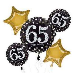 Happy 65th Birthday Star Bouquet Balloon And Party Service