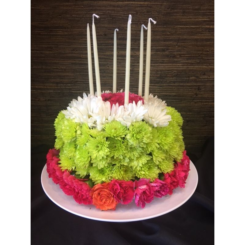 Awesome Birthday Cake Flower Arrangement Aylas Floral Studio Ballwin Mo Personalised Birthday Cards Beptaeletsinfo