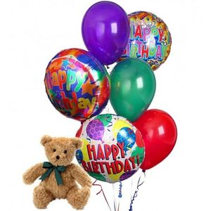Happy Birthday Balloon Bouquet Bear In Franklin NH The Blossom Shop LLC