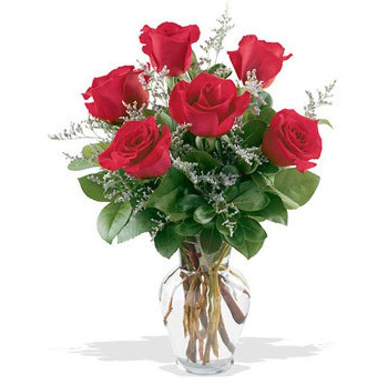 Half Dozen Roses In Vase Pampa Tx Florist Brandons Flowers
