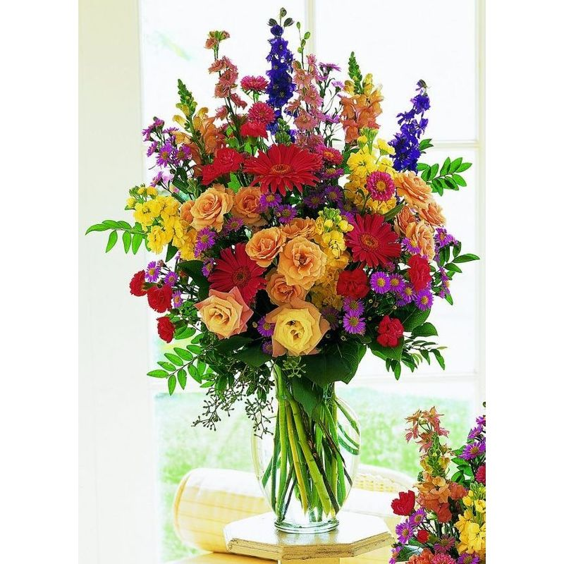 Large Vase Of Mixed Spring Flowers Pampa Tx Florist Brandon S Flowers