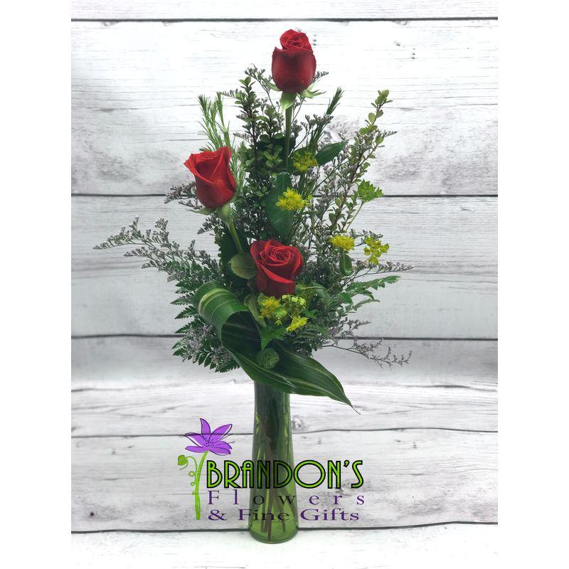 3 Long Stem Roses Pampa Tx Florist Brandons Flowers