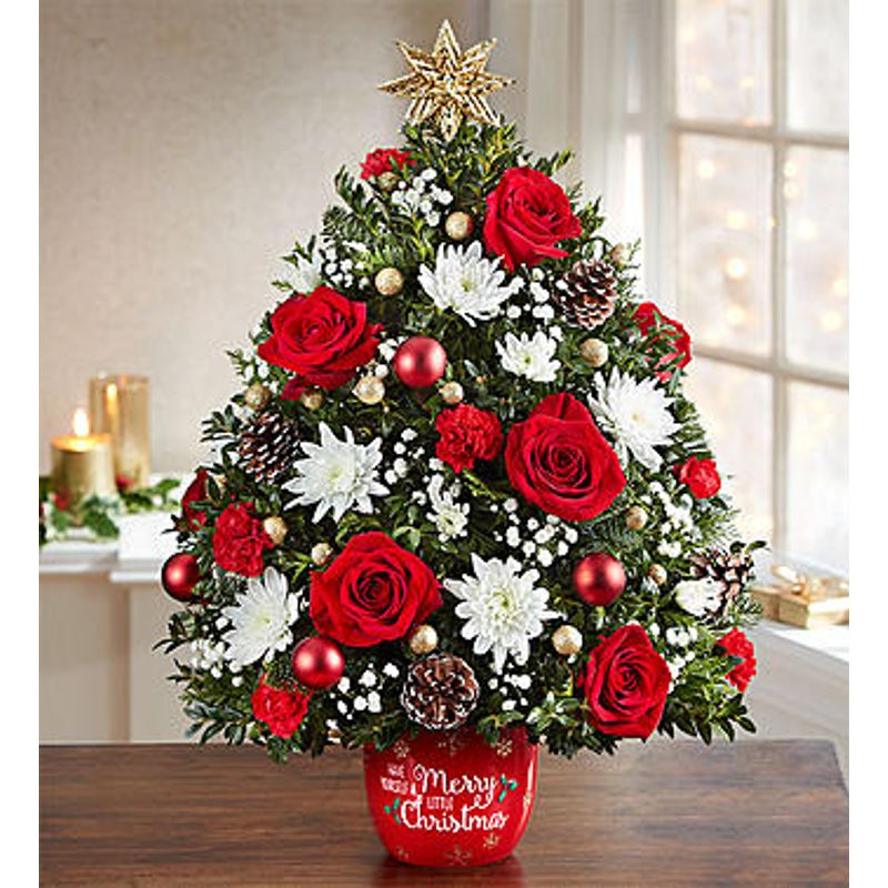 Artificial Christmas Flowers.Merry Christmas Tree Table Top Buds Flowers And Gifts