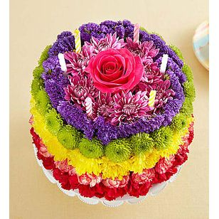 BN Birthday Wishes Flower Cake Rainbow
