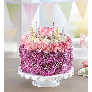 BN Birthday Wishes Flower Cake Pastel