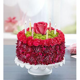 BN Birthday Wishes Flower Cake Purple