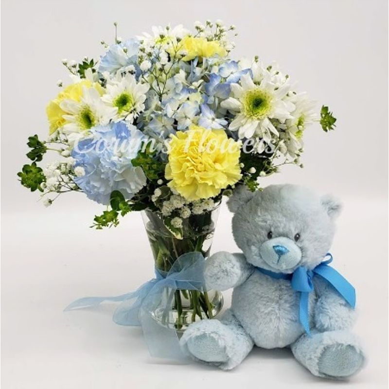 Baby Boy Bouquet with Bear Corum\'s Flowers & Gifts, serving Council ...
