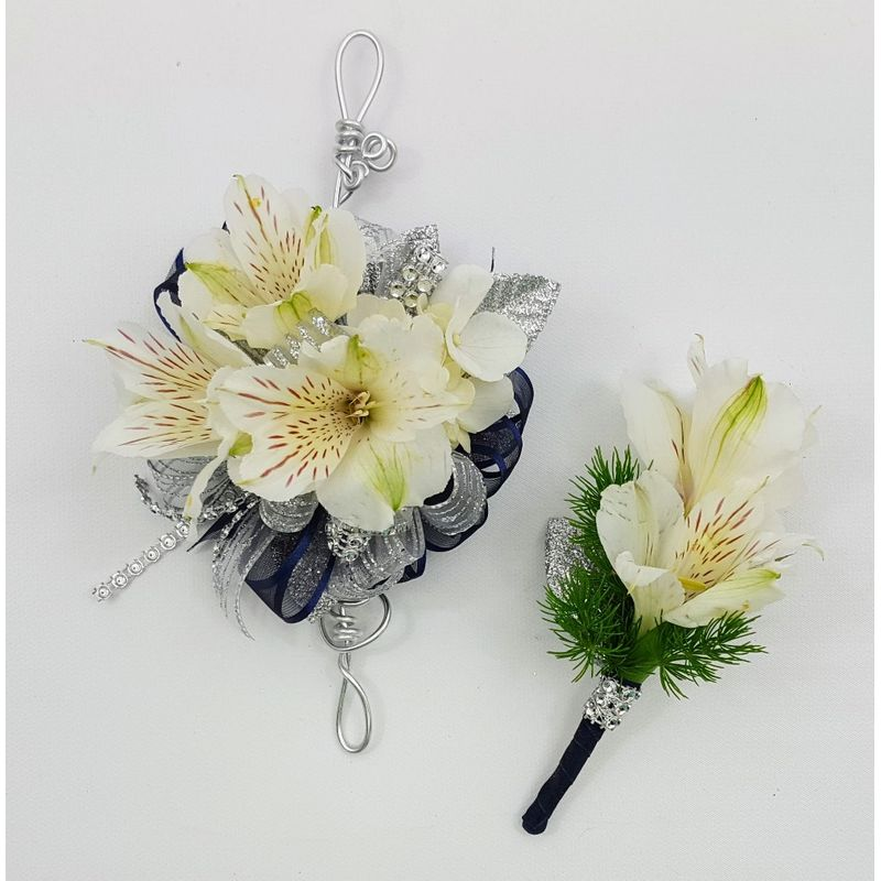 White alstroemeria with navy and silver prom set corums flowers more views mightylinksfo