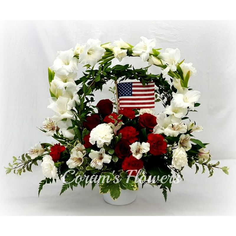 Red and white hoop arrangement with flag corums flowers gifts more views mightylinksfo