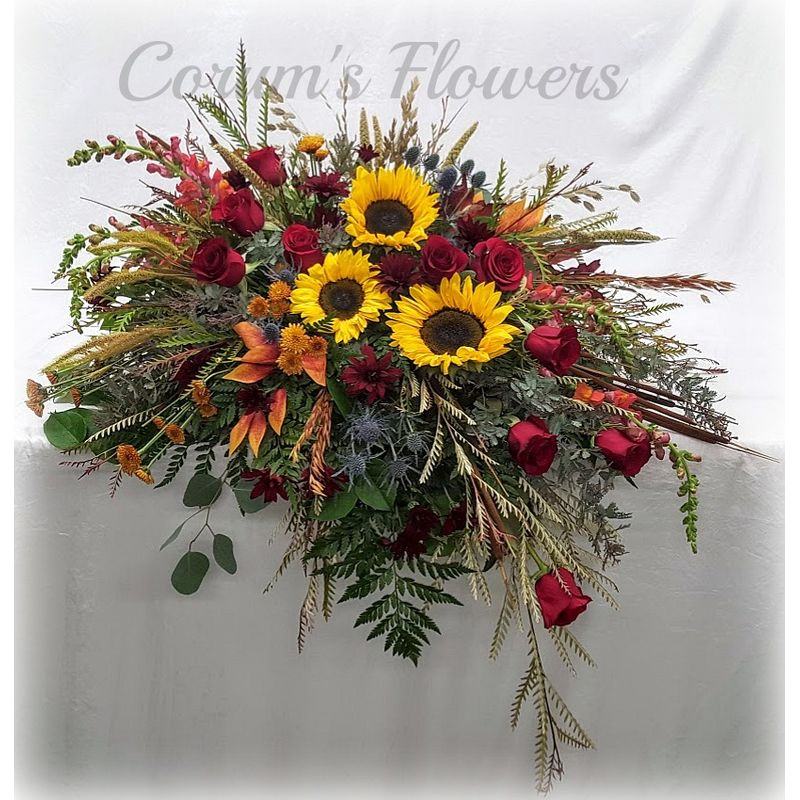 Sunflowers And Roses Mixed Casket Spray Corum S Flowers