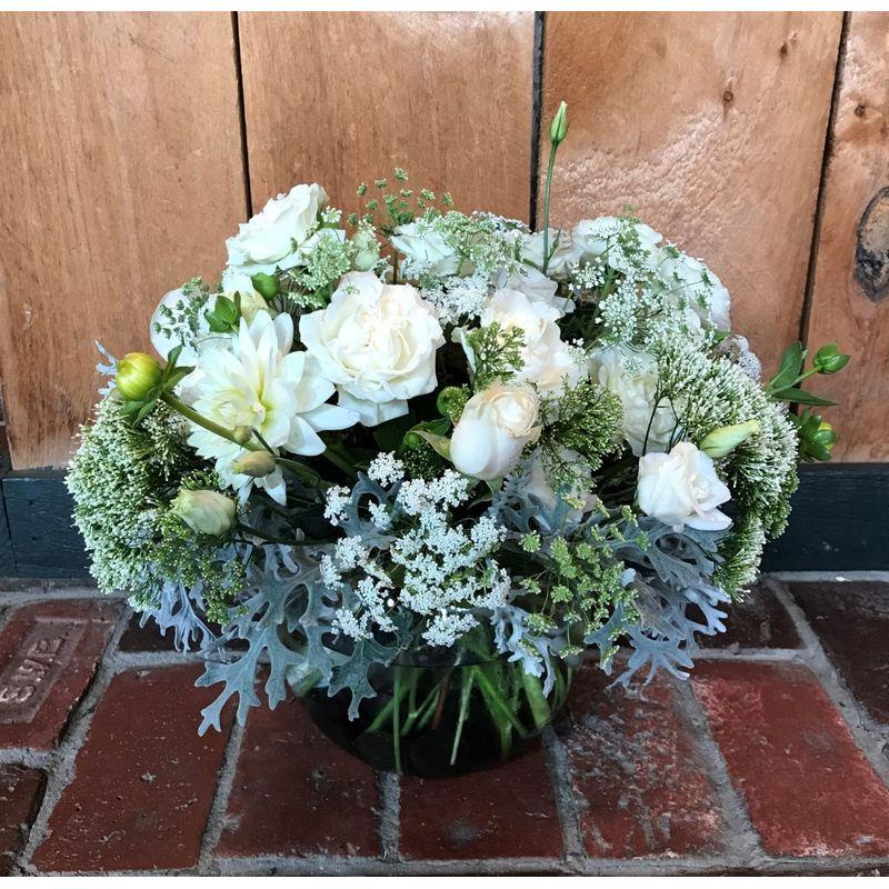 White garden bowl millerton ny florist country gardeners florist more views mightylinksfo