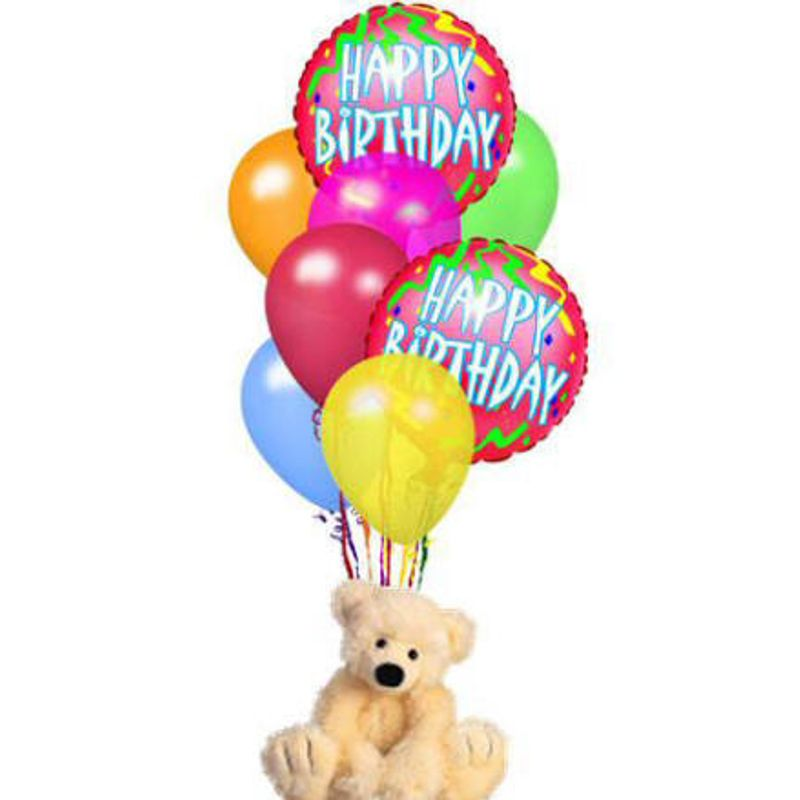 Happy Birthday Balloon Bouquet With Bear Design House Of Flowers In