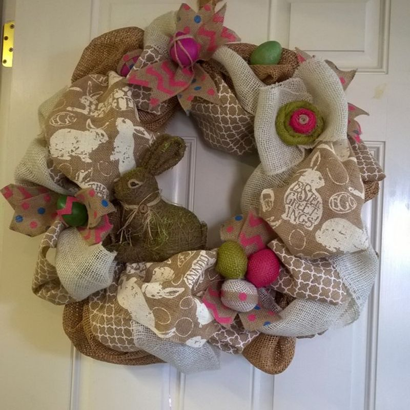 Two Silly Monkeys Easter Basket Wreath: Easter Burlap Wreath Designs By Gail & Argyle Floral