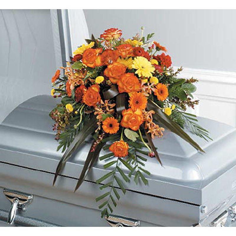 Orange Casket Spray Chicago Florists - Flowers Chicago IL