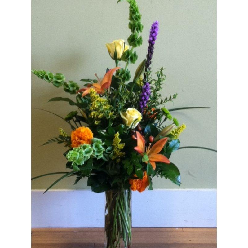 purple green and orange mixed vase destin floral designs destin fl 32541. Black Bedroom Furniture Sets. Home Design Ideas