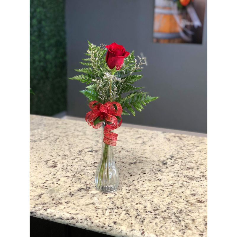 Single Rose Bud Vase Devault Floral Lubbock Tx 79410