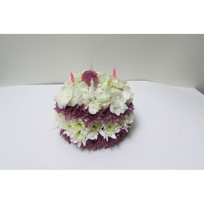 Purple and white cake abk101 doss flowers and gifts all a bloom more views mightylinksfo