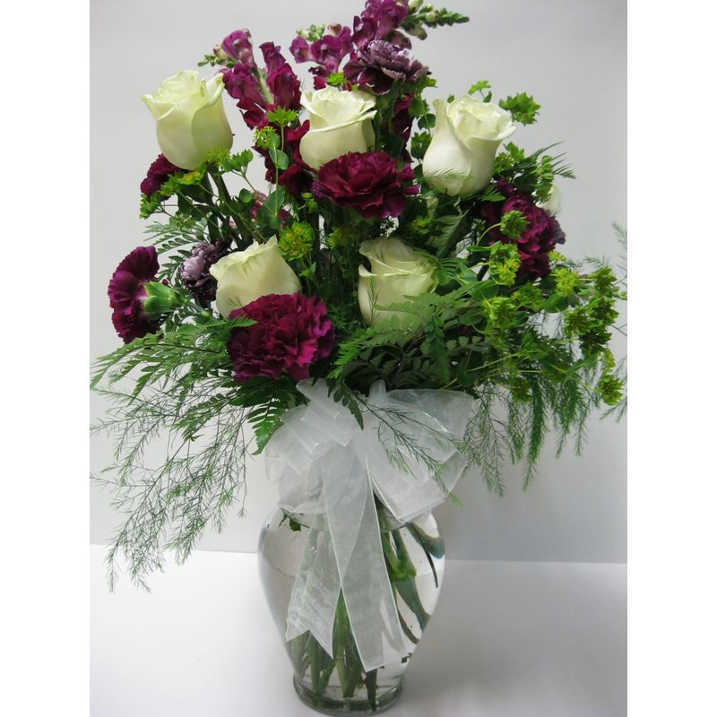 White roses and purple carnations a106 doss flowers and gifts all more views mightylinksfo