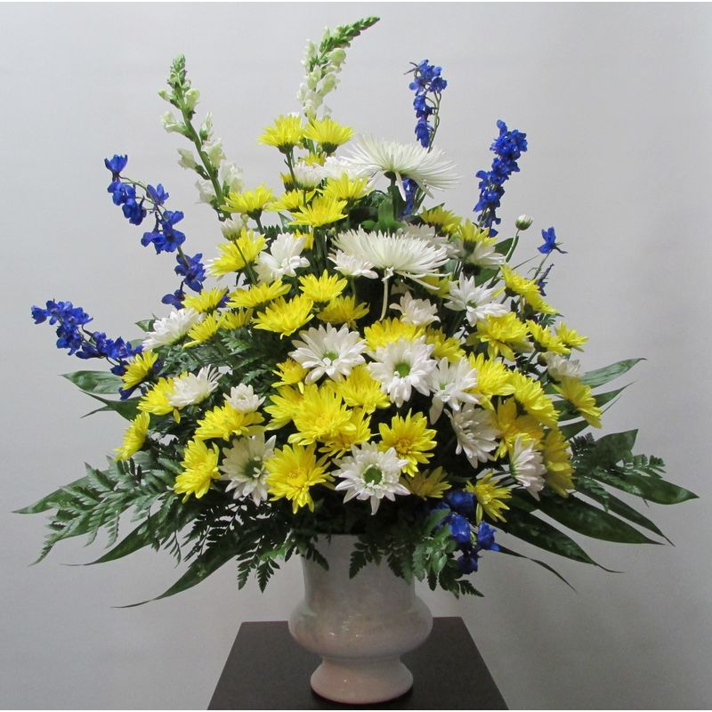 Blue yellow and white urn syu106 doss flowers and gifts all a more views mightylinksfo