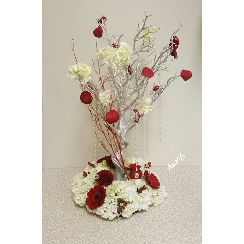 Wedding Centerpiece Red White Silver Dream World Florist Decor