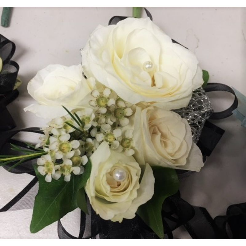 White rose with black ribbon corsage eden flowers local flower more views mightylinksfo