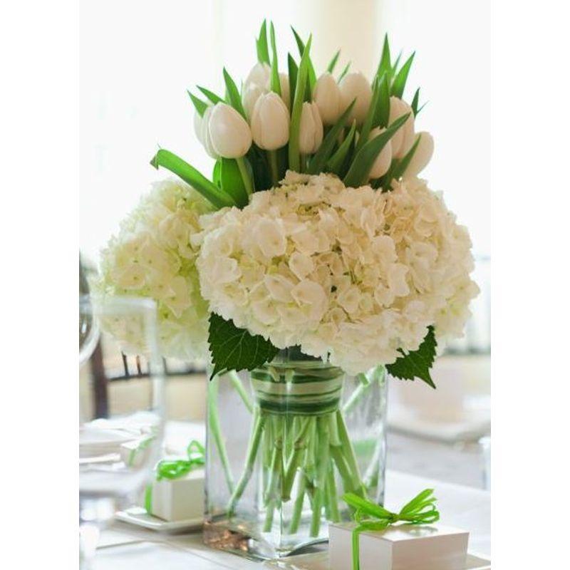 White Hydrangeas Tulips Elegant Flowers Fresno Florists Flowers