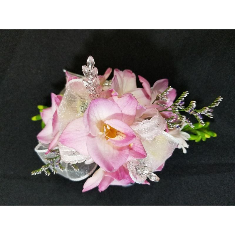 Pink freesia corsage fleur de lis florist skaneateles ny flower shop more views mightylinksfo