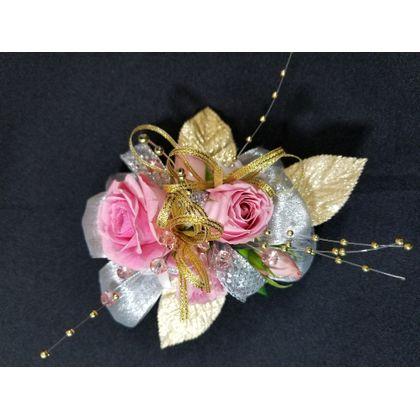 Pink rose & Gold Corsage Fleur de lis Floral Design