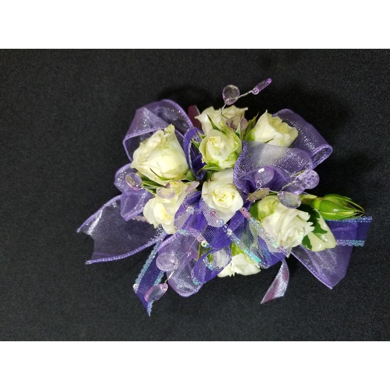 White roses w purple corsage fleur de lis florist skaneateles ny more views mightylinksfo