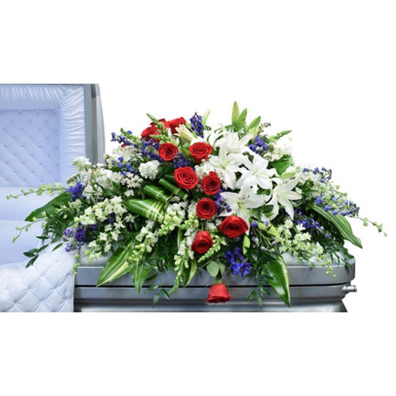 Red White & Blue Casket Cover Suwanee, GA Florist - Suwanee Towne ...