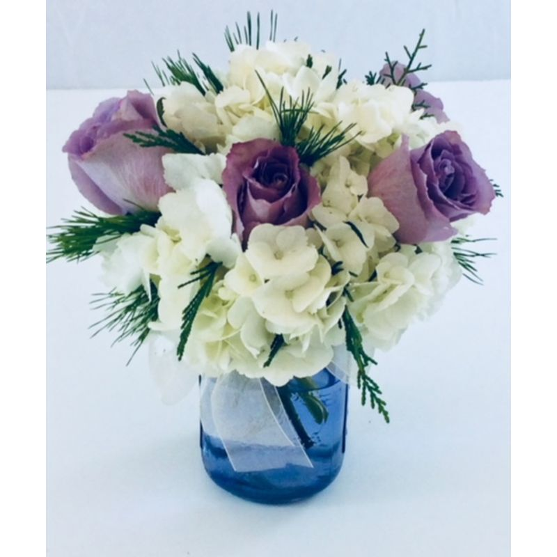 Hydrangea and Rose Mason Jar