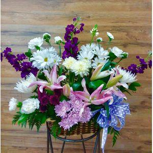 Charlotte florist flower hut purple basket of memories in charlotte nc flower hut charlotte mightylinksfo