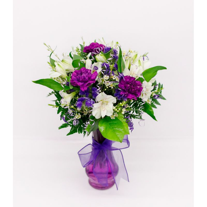 Purple And White Mixed Bouquet In Glass Vase Muskogee Ok Florist