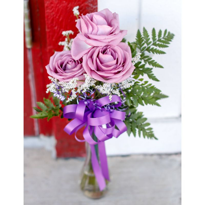Three Purple Roses In Glass Vase Muskogee Ok Florist Flowers From