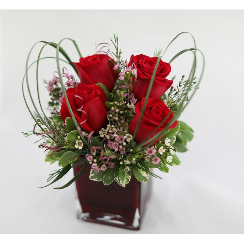 Small Rose Bouquet In Square Glass Vase Muskogee Ok Florist