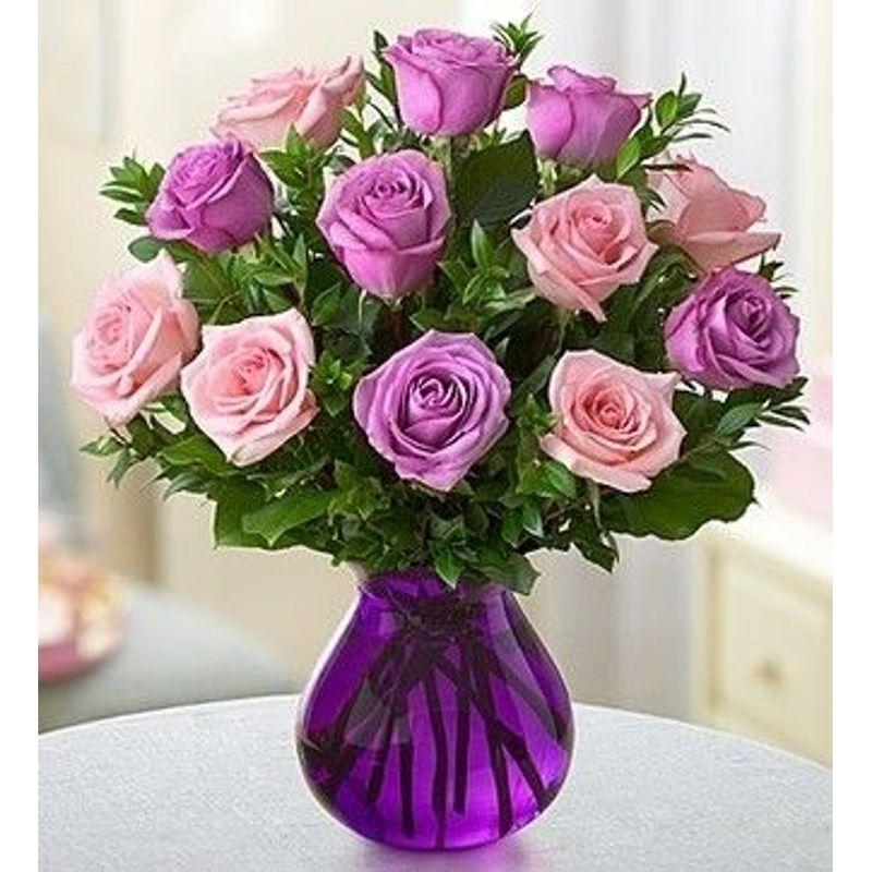 1 Dozen Roses With 6 Purple And 6 Light Pink Mebane Nc Florist