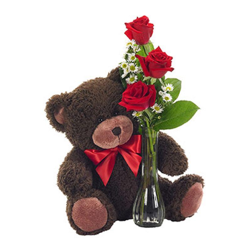 Red Rose Trio Bud Vase With Teddy Bear Mebane Nc Florist Gallery