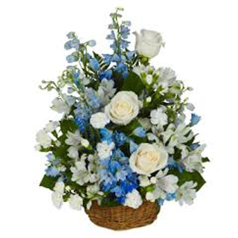 White And Blue Flower Basket Mebane Nc Florist Gallery Florist And