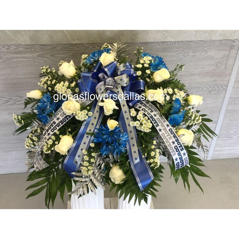 Cowboy Fan Casket Spray Gloria's Flowers-Dallas TX 75211