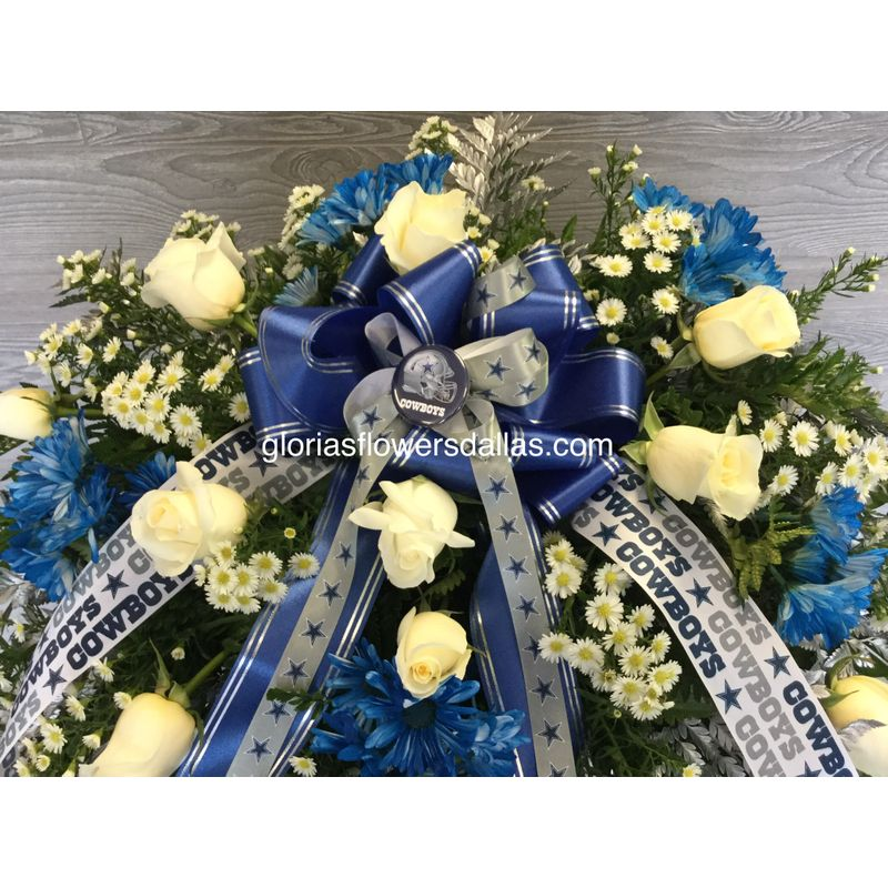 Cowboy Fan Casket Spray Gloria's Flowers-Dallas TX 75211